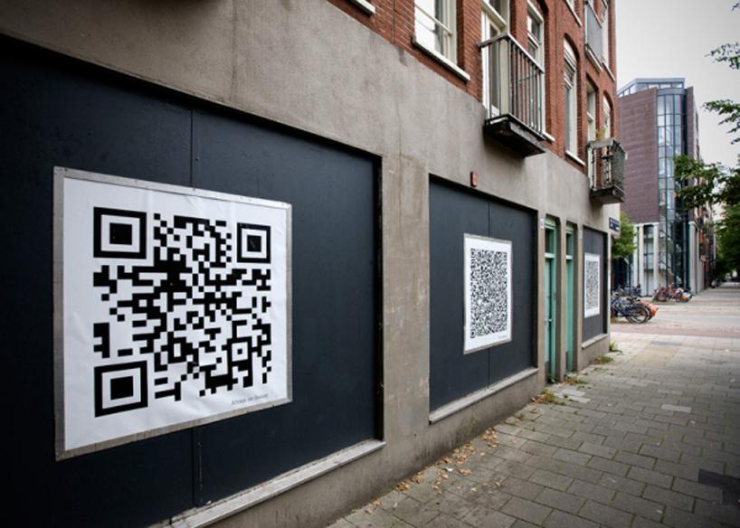 Un QR sur un mur d'Amsterdam