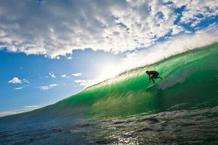 photo surf soleil vague